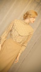 Victorian style women blouse  in beige and sweet colored flowers