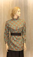 Modest Victorian style women blouse in light turquoise with antique roses