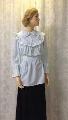 חולצה כפרית יפהפיה, בסגנון וינטאג' בפסים לבנים וטורקיז