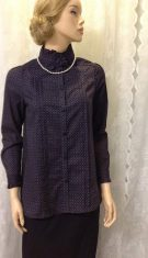 Navy Blue and white printed pleaded ladies blouse